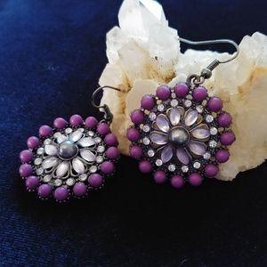 Vintage Style Purple Bead Rhinestone Disc Earrings